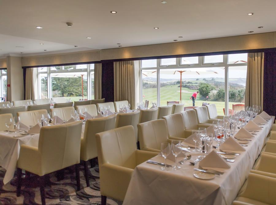 Carlyon bay Golf Clubhouse tables laid up for function