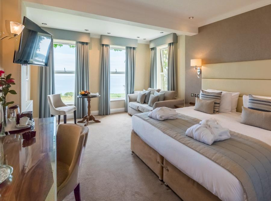 Deluxe seaview bedroom at Carlyon Bay