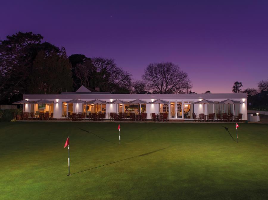 Exterior of Carlyon Bay Golf Clubhouse at night