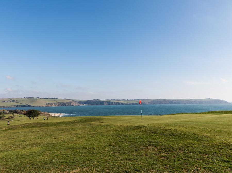 View of 12th green and out to sea at Carlyon Bay