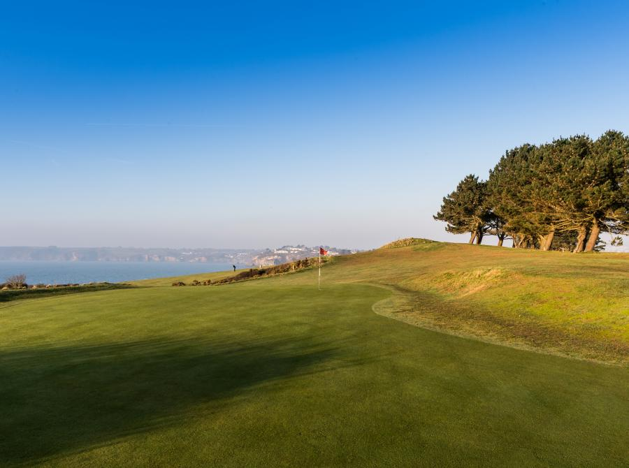 9th Green looking back to the carlyon bay hotel