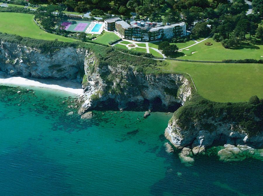 Aerial view of Carlyon Bay Hotel