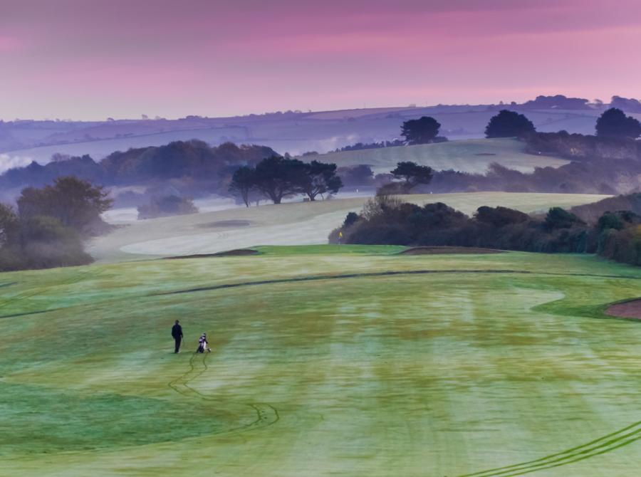 early morning mist over Carlyon Bay golf course
